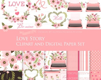 30% off Love Story Pink Clip Art + Digital Paper Set /  Pink Typewriter - Instant Download