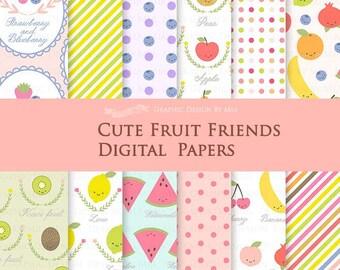 Cute Fruit Friends / Fruit Digital Paper Pack / Pear Lemon Blueberry Pomegranate Orange Kiwi Banana Watermelon - Instant  Download - DP088