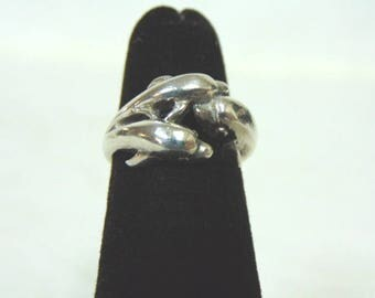 Womens Vintage Estate Sterling Silver Dolphin Ring 3.5g E3024