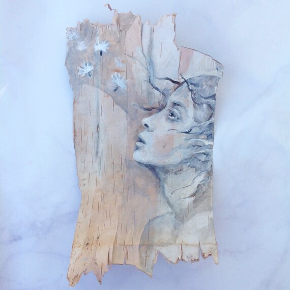 Dreams Float Birch Bark Original Painting dandelion wall art Woodland Theme Art woman's face nature natural