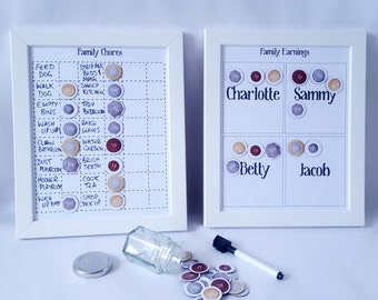 Kids Chore chart, Chores for hire, jobs, tasks, pocket money, reward chart, with money magnets, Family command centre, 2 Charts, Family jobs