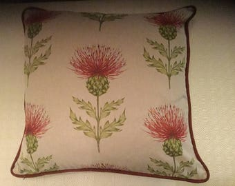 Beautiful Handmade Piped Cushion Cover - Red Thistle & Plaid Design