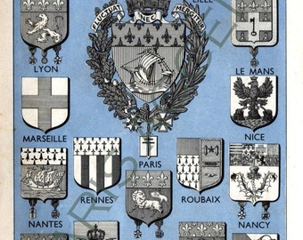 Instant digital download of 'Armoiries' Coat of arms',from 'Nouveau Petit Larousse Illustré,a French Encyclopedia.Useful teaching aid,1952