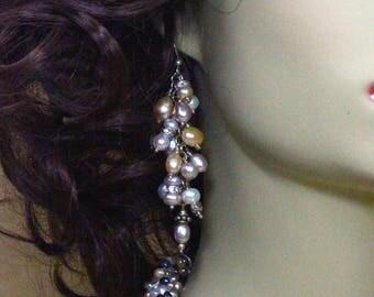 Pearl Earrings, Dangle Earrings, Fresh Water Pearls, Silver Earrings, Multi Colored Earrings