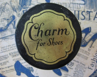 "Vintage Cobalt Blue Glass Jar Shoe Polish ""Charm for Shoes"", ""Patent Leather Softening Cream"", Black Metal Lid, Paper Label, with Contents"