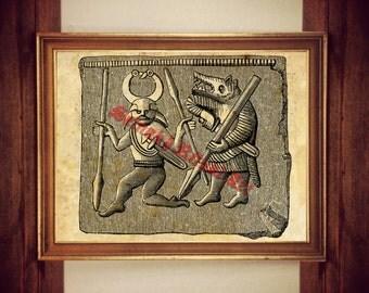 Viking art, Berseker old image, Nordic home decor, Scandinavian poster #439