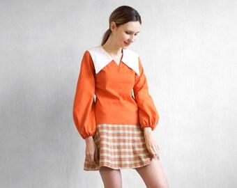 Orange mod dress / mini mod dress / plaid skirt dress / 70s 60s dress / balloon sleeves dress