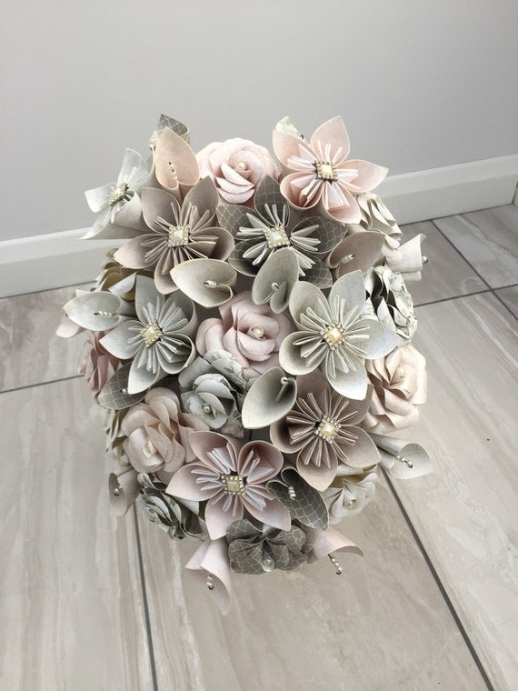 paper flower bouquets for weddings winter flower bridal bouquet paper flower cascade bouquet 6365