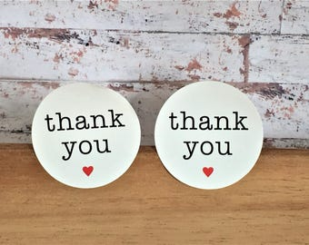 100 Thank You Stickers - 38mm Round White Red Heart - Envelope Seals Sealing Stickers - Favor Favour Seal