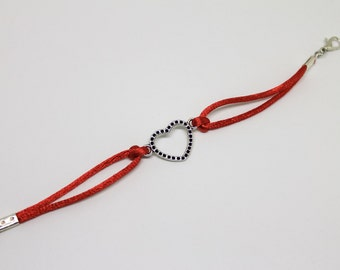 Bracelet with heart. Love. Love. Colored DrawString gift