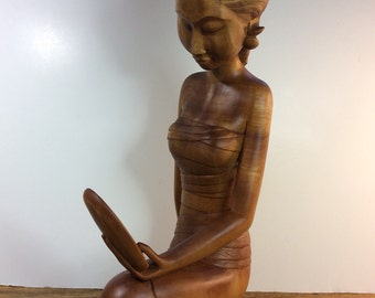 Balinese Wooden Sculpture - Vintage - Woman with Mirror