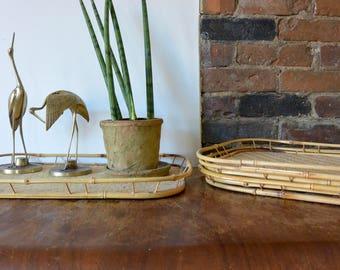 Bamboo Rattan Trays - Set of 4