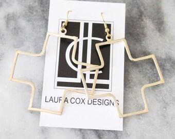 Gold Open Cross Earrings