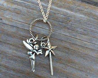 Fairy Necklace, Charm Necklace, Necklace, Minimalist Necklace, Gifts for her, Fairy Wand Necklace