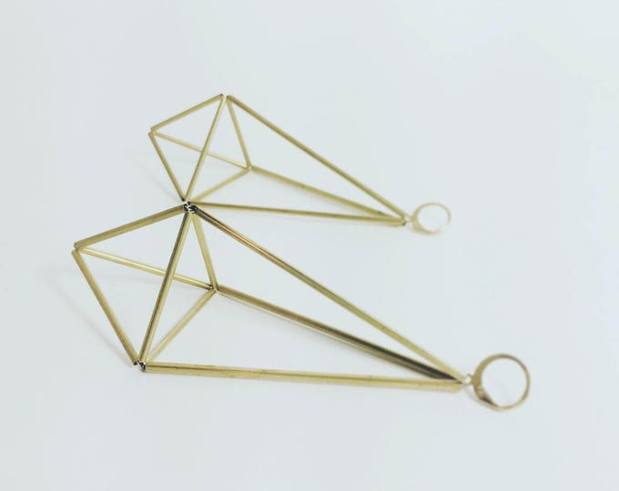 Prism Earrings Himmeli Drop Earrings Lightweight Geometric Earrings Brass
