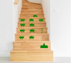 Stair Stickers,  Stair Decals  -  Space Invaders , Black White Blue Green Orange Yellow Red Grey Pink Purple Silver Gold .