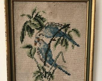 Vintage Framed Needlepoint Blue Parakeet Picture