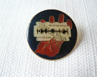 Vintage Early 80s Judas Priest - British Steel Album Enamel Pin / Button / Badge