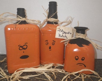 "Upcycled Bottles ""The Drunkin Bunch""~ Halloween Decor"