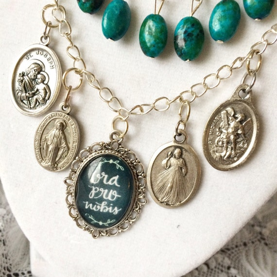 3 Tier Pendant Charm Beaded Necklace Pray for Us Ora Pro Nobis Saint Medals Catholic Christian Jewelry Gifts for Her