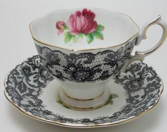 "Royal Albert ""Senorita"" Black Lace Pink Rose Vintage Tea Cup and Saucer Fine Bone China Made in England"