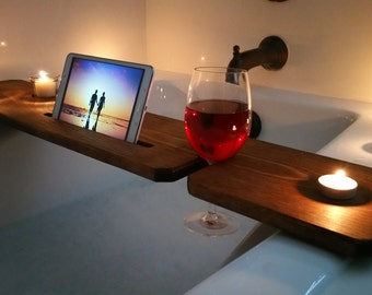Bath Tub Tray- Stained / Sliver woodworking / Bathroom Accessories / Candle holder / Wooden phone case / Great Birthday gift / bath caddy