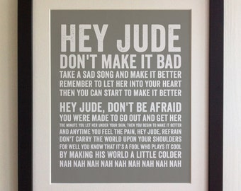 FRAMED Lyrics Print - The Beatles, Hey Jude, - 20 Colours options, Black/White Frame, Wedding, Anniversary, Valentines, Fab Picture Gift