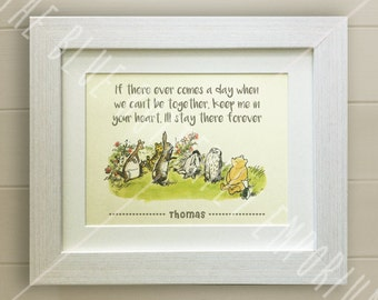 FRAMED Personalised Winnie the Pooh QUOTE PRINT, Birth, Christening, Nursery Picture Gift, Pooh Bear, Framed or mounted, Choice of 3 frames