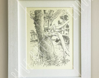 FRAMED Winnie the Pooh Black and White PRINT, New Baby/Birth Nursery Picture Gift, Pooh Bear, Framed or just mounted, Choice of 3 frames