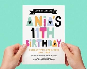 Fun Name Invite Typographic Number Tween Birthday Party Invitation 7th 8h 9th 10th 11th 12th 13th 14th 15th 16th