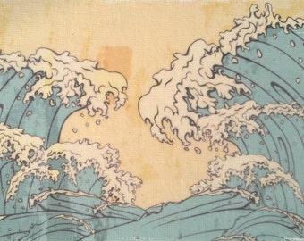 Japanese Waves Wall Art Print - waves art, beach decor, Japanese art, waves artwork, beach art, ocean waves, ocean decor, cotton anniversary