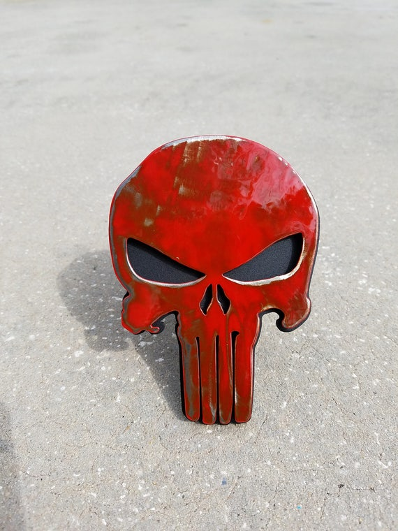 Punisher Trailer Hitch Cover battle worn, Truck Accessories, Car Accessories, Steel Punisher Skull