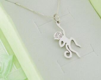 "Little girl's monkey necklace in sterling silver on a 14"" sterling silver chain. Little girls jewelry. Little girl's sterling necklace."