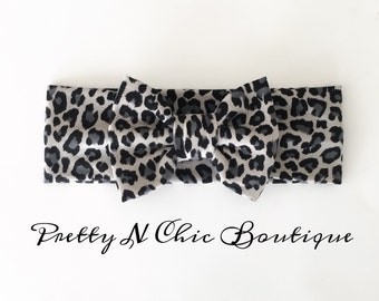 NEW! Gray Leopard Print Bow Headwrap