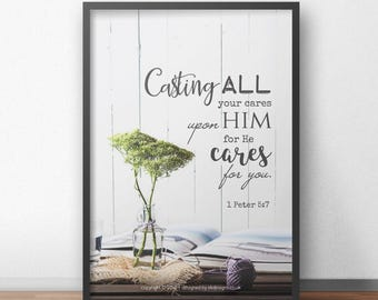 NEW 1 Peter 5:7 A4 Christian Poster - Glossy