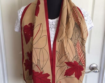 Vintage Vera Neumann Oblong Scarf with a Red and Beige Maple Leaf  1970s - FREE SHIPPING EVERYWHERE