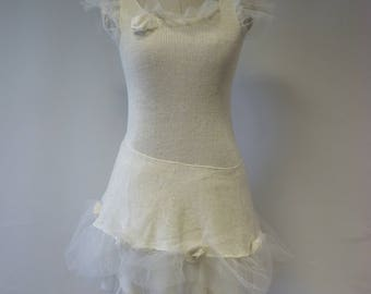 Special price. Girlish handmade off-white  dress, S size.