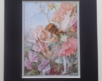 Large SWEET PEA FAIRY Print - Flower Fairies Print-Cicely Mary Barker -Nursery Decor -Home Wall Art Decor - 1990's - Matted - Ready to Frame
