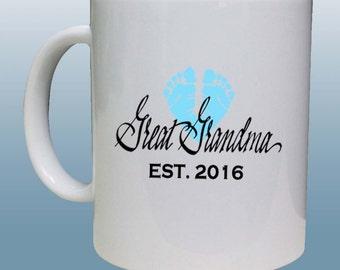 Great Grandma Mug, New Great Grandma Gift, Babies Feet Great Grandma Mug With the Year