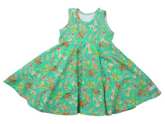 Green Floral Twirl Dress Twirly Dress Summer Dress Toddler Dress Child Dress Baby Dress Girl Twirl Dress Green Pink Cottagely Posy Dress