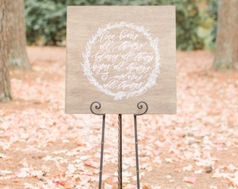 1 Corinthians 13:7 large wooden sign