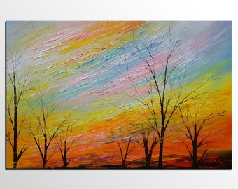 Modern Art, Abstract Art, Large Canvas Art, Oil Painting, Wall Art, Abstract Painting, Canvas Painting, Landscape Painting, Autumn Tree Art