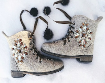 Woman felted boots Inspiration Valenki