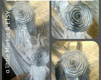 2 silver Christmas roses