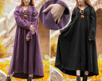 Anysize Ripple Jacquard Weave V-neck super hem linen&cotton Spring Winter dress plus size linen dress plus size clothing F17A