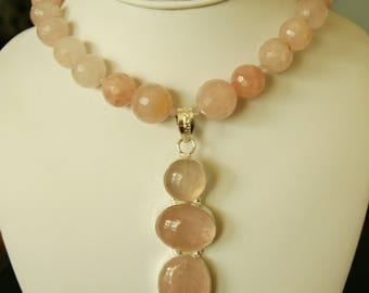 Beautiful Rose Quartz Silver Pendant Necklace