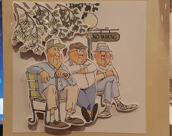 Decoupage Greeting Card - Park Bench