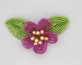 Handmade Fuchsia French beaded Flower Brooch with Pearl Center