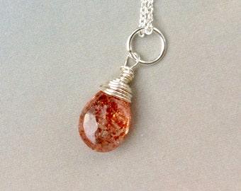 Shimmering  Confetti Sunstone Pendant, Sunstone Necklace, natural gemstone, sterling silver, 14k gold filled, sunstone briolette