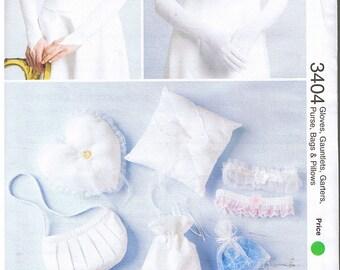Hand Bag Purse Gloves Gauntlets Garters Ring Pillows Favor Gift Money Bags Womens Wedding Bridal Accessories Kwik Sew 3404 Sewing Pattern